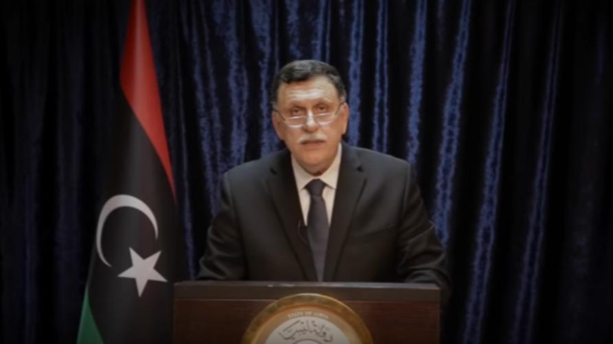 رئيس حكومة الوفاق الليبية فايز السراج خلال كلمته السبت