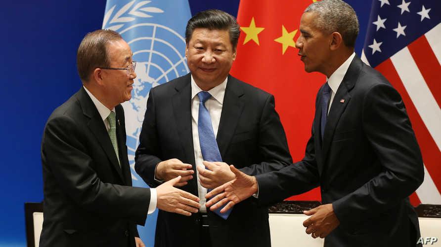 باراك أوباما و شي جينبينغ و بان كي مون خلال المصادقة على الاتفاقية