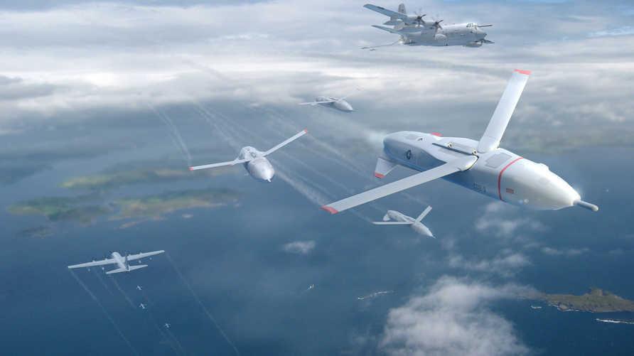 رسم لأسراب من الطائرات المسيرة - المصدر: DARPA