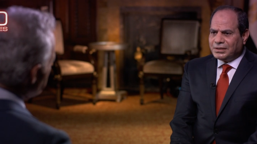 صورة للرئيس المصري عبد الفتاح السيسي خلال مقابلة مع قناة CBS الأميركية
