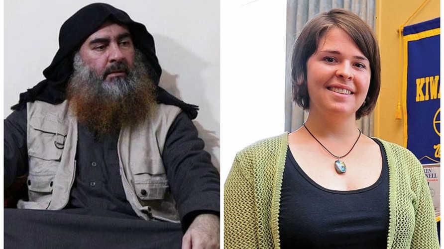 على اليمين كايلا مولر وعلى اليسار زعيم تنظيم داعش أبو بكر البغدادي