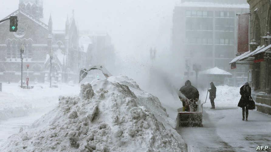 جانب من حي باك باي في بوسطن غارق تحت الثلج