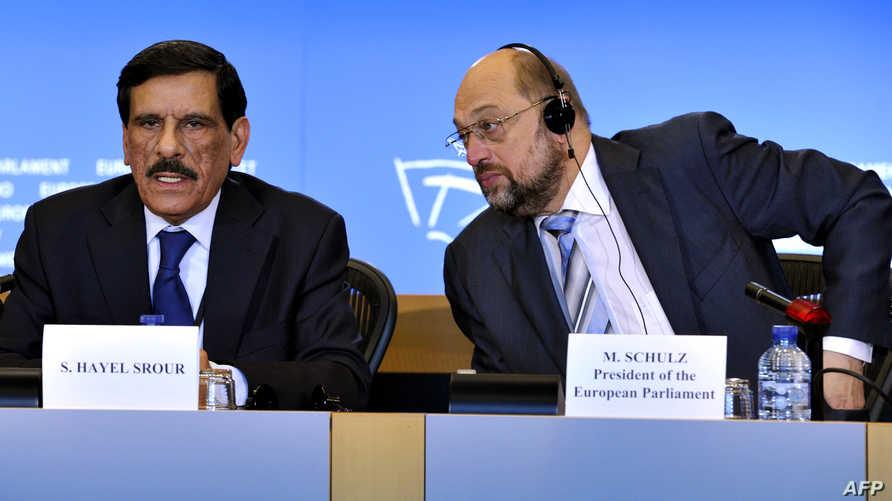رئيس البرلمان الأوروبي مارتن شولتز ورئيس مجلس النواب الأردني سعد هايل سرور
