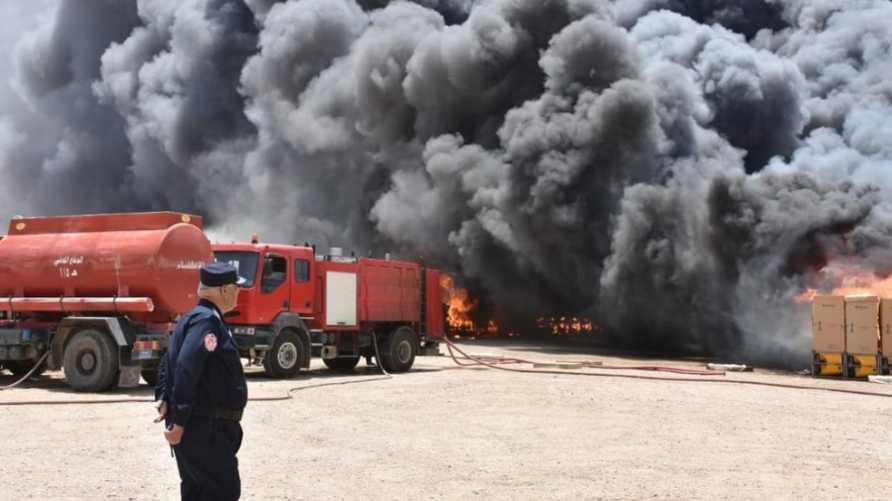 صورة نشرتها على تويتر مديريةالدفاع المدني العراقية لحريق جسر ديالى