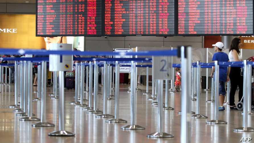 قاعة الركوب شبه فارغة في مطار بن غوريون