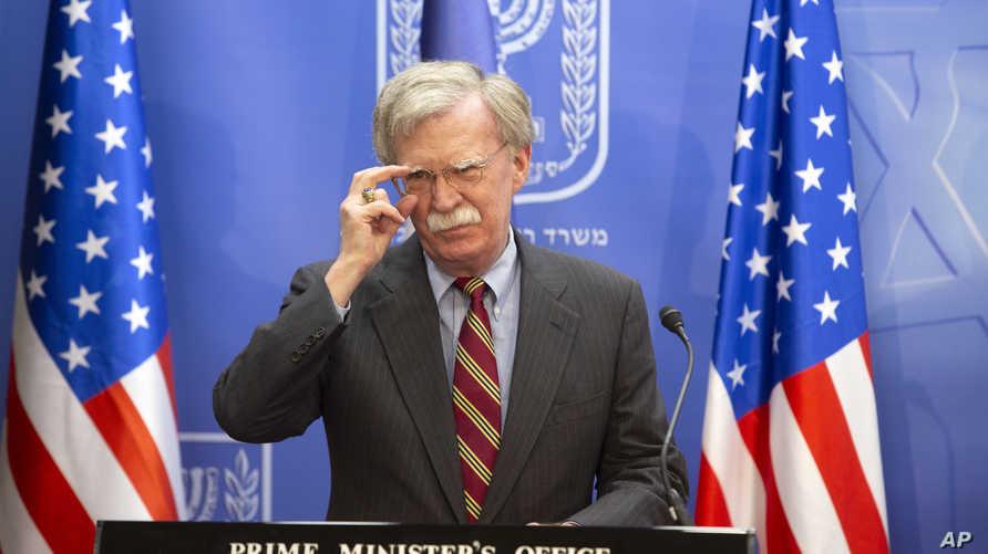 بولتون خلال المؤتمر الصحافي في القدس