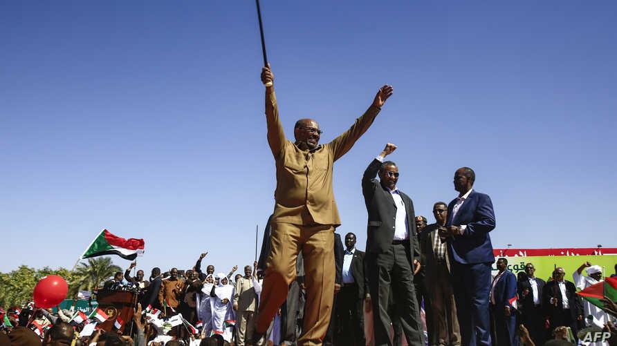 الرئيس السوداني عمر البشير في مهرجان لمؤيديه في الخرطوم