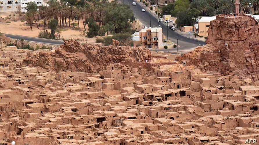 صورة جوية لبلدة العلا التاريخية في السعودية، وقد وجد فيها آثار من عهد مملكة لحيان 2000 سنة قبل الميلاد