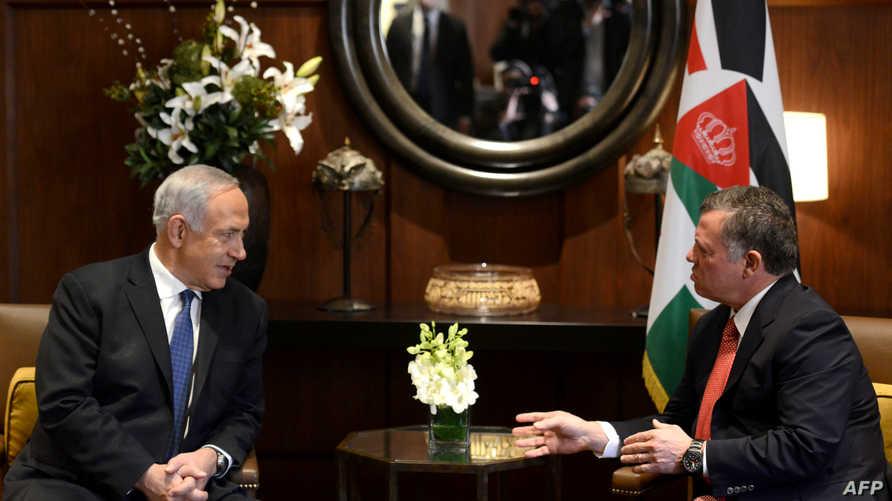 العاهل الأردني ونتانياهو خلال لقائهما في 2014