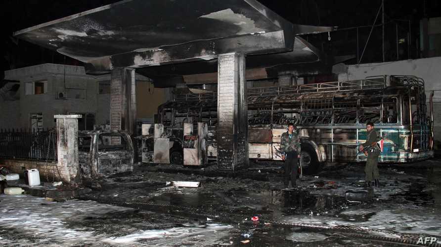 مكان الانفجار الذي وقع  في محطة وقود قاسيون في دمشق
