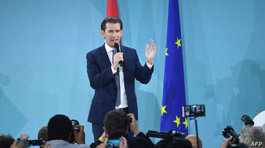 المحافظ سيباستيان كورتز في كلمة بعد الإعلان عن نتائج الانتخابات التشريعية في النمسا