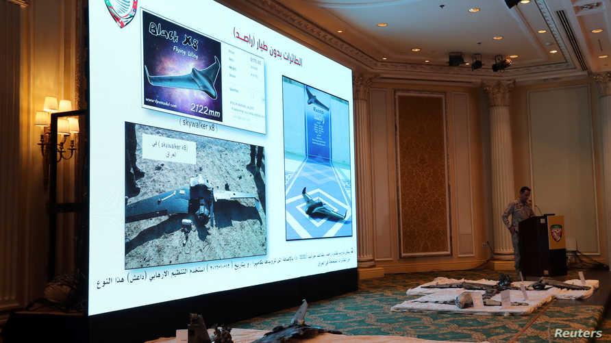 المتحدث باسم التحالف بقيادة السعودية تركي المالكي في مؤتمر صحفي سابق