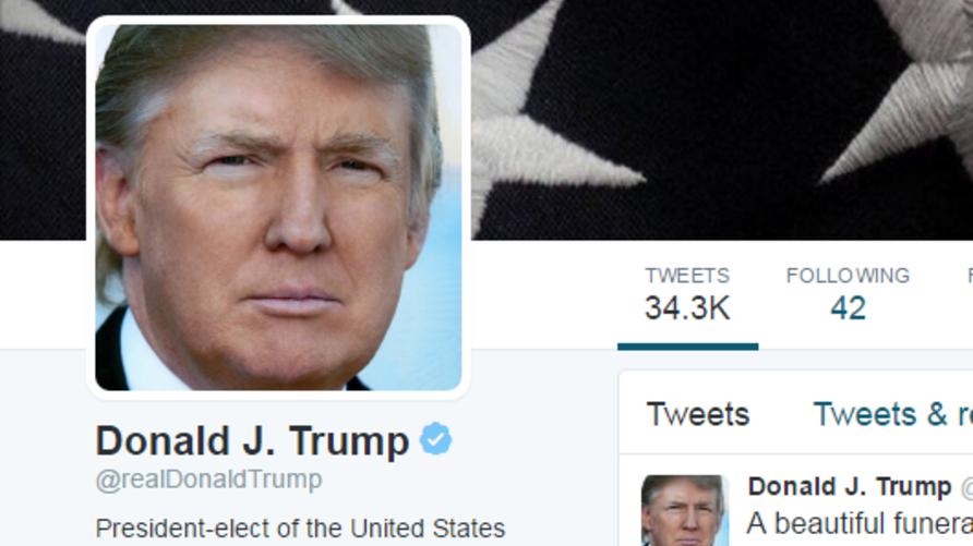 صورة للحساب الرسمي للرئيس المنتخب دونالد ترامب في تويتر