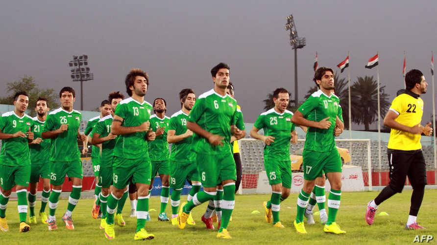 المنتخب العراقي خلال التدريب.