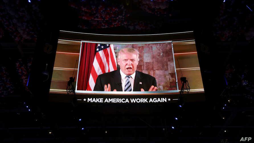 دونالد ترامب في خطابه للمؤتمر الجمهوري عبر دائرة الفيديو المغلقة