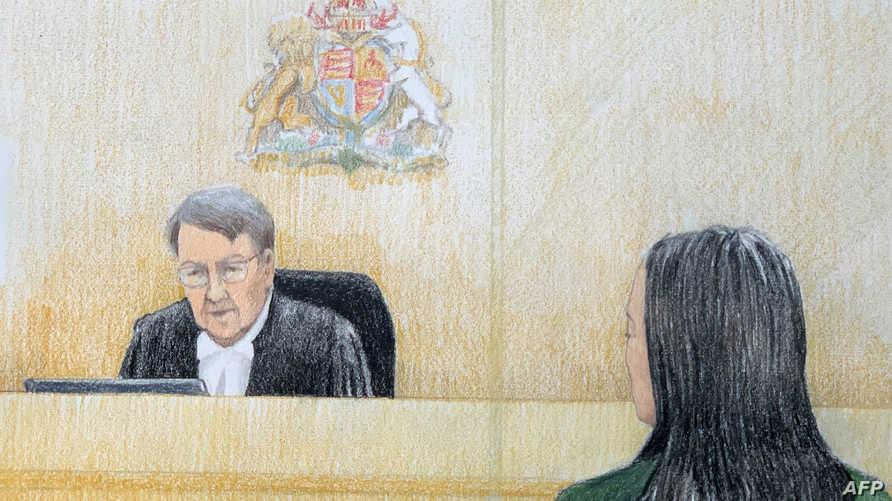 رسم تعبيري لجلسة مينغ الأولى في المحكمة