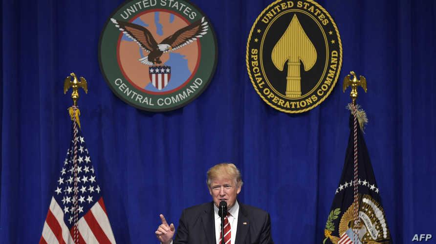 دونالد ترامب أثناء كلمة ألقاها بقاعدة ماكديل في تامبا بفلوريدا