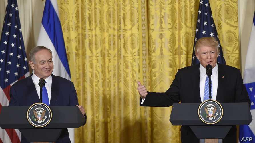 الرئيس دونالد ترامب خلال مؤتمر صحافي مع رئيس الوزراء الإسرائيلي بنيامين نتانياهو