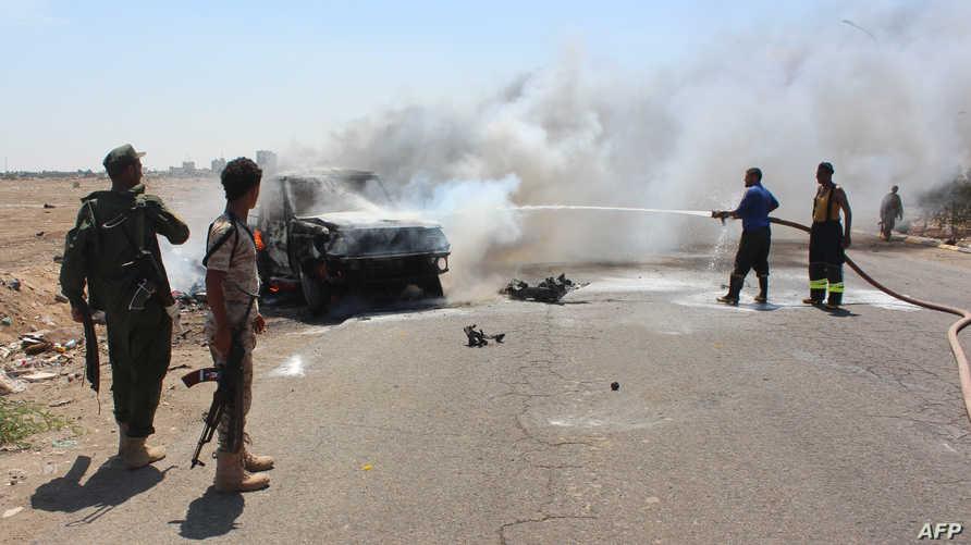 موقع الانفجار الذي استهدف مدير الأمن في عدن