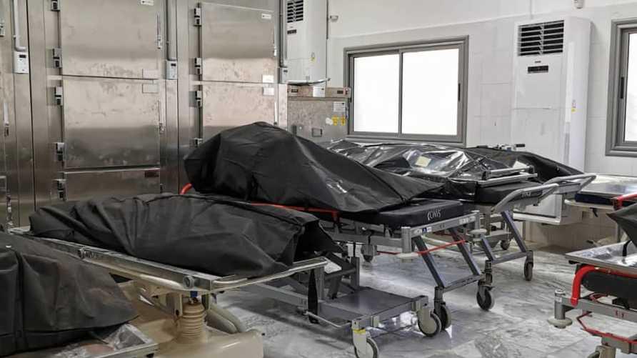 """صورة نشرتها صفحة """"عملية """"بركان الغضب"""" تظهر جثث عدد من القتلى في غارة على مصنع في ليبيا على حد وصفها - 18 نوفمبر 2019"""