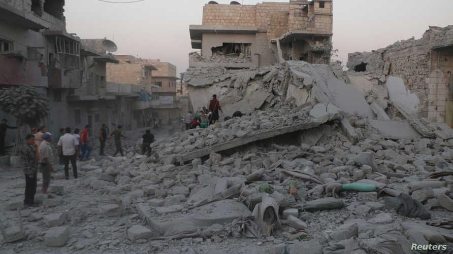 إحدى المناطق التي تعرضت للقصف هذا الأسبوع في إدلب