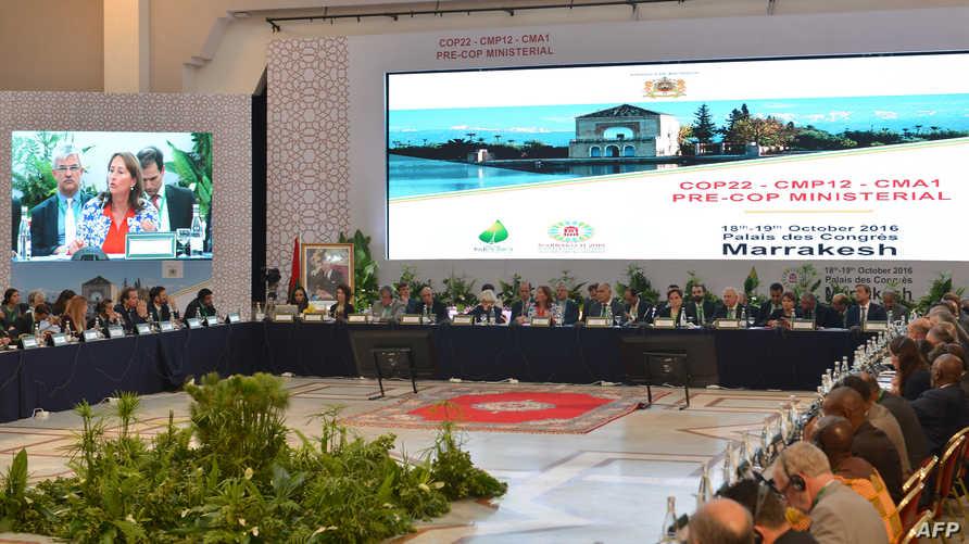 جانب من أحد الاجتماعات التحضيرية لمؤتمر المناخ في مراكش