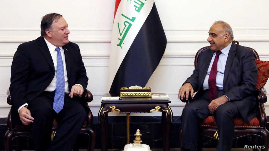رئيس الحكومة العراقية عادل عبد المهدي مستقبلا وزير الخارجية الأميركي مايك بومبيو