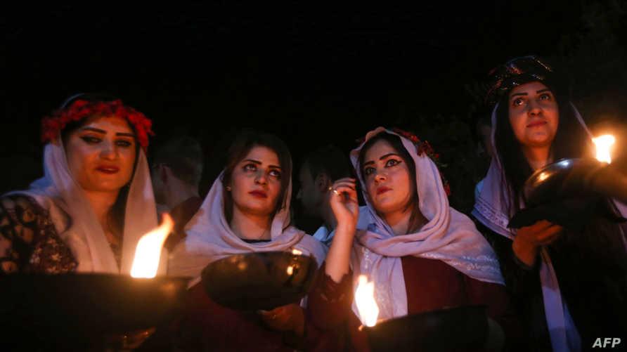 أيزيديات أثناء الاحتفال برأس السنة الأيزيدية