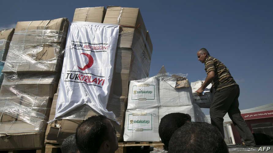 مساعدات تركية في معبر كرم أبو سالم