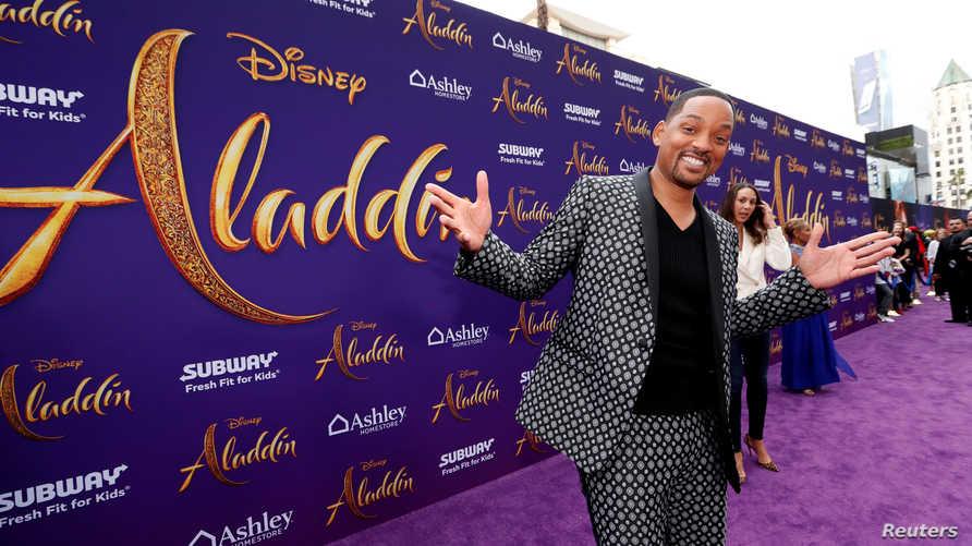 """الممثل ويل سميث خلال عرض افتتاحي لفيلم """"Aladdin"""""""