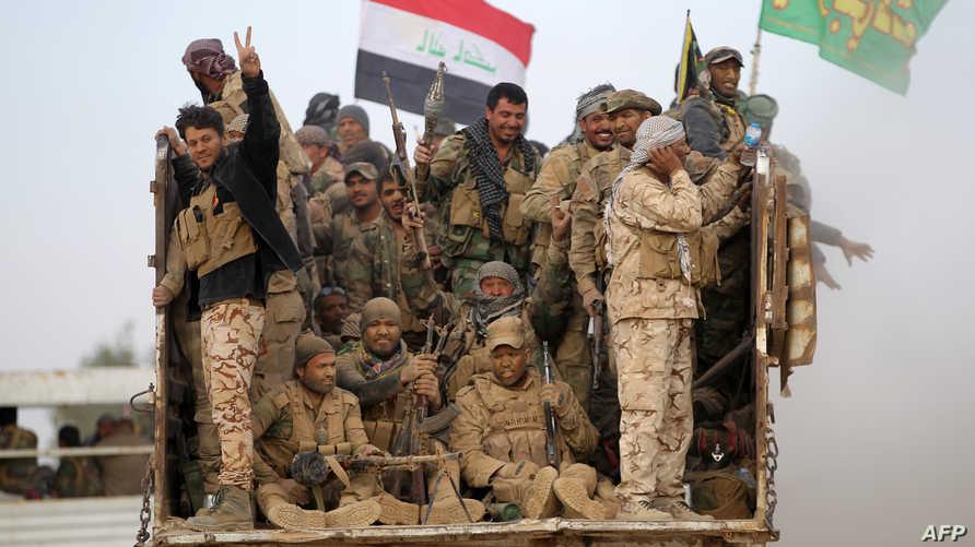 قوات من الحشد الشعبي جنوب الموصل