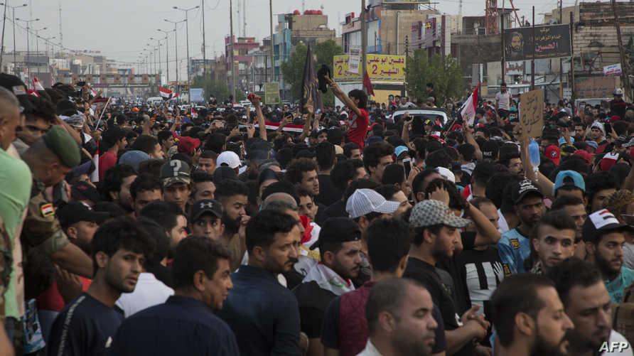 تظاهرات حاشدة في مدينة البصرة جنوبي العراق
