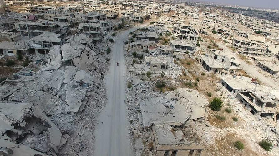 صورة جوية للدمار الناتج عن هجوم النظام السوري على مدينة درعا عام 2017