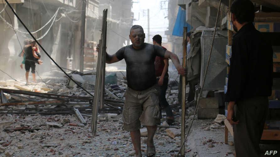 مخلفات القصف على حلب- أرشيف