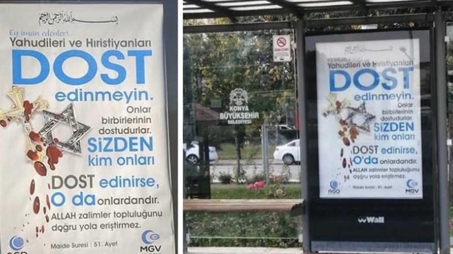ملصقات تحمل رسائل كراهية ضد الأقليات الدينية في مدينة قونية التركية