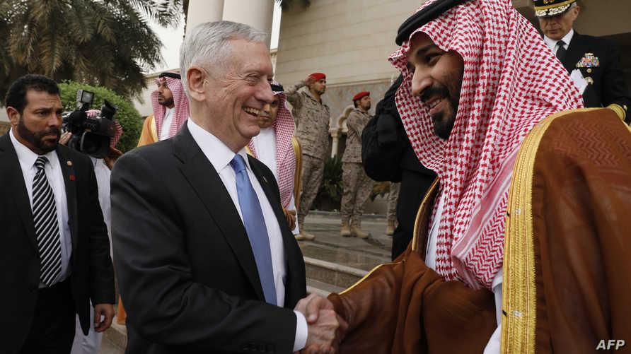 ماتيس أثناء لقائه بولي ولي العهد السعودي في الرياض
