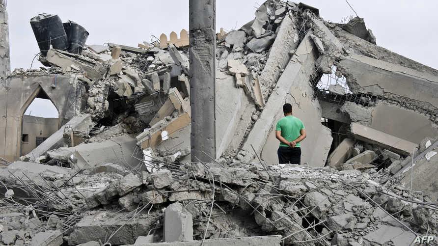 مخلفات غارة إسرائيلية على غزة -أرشيف