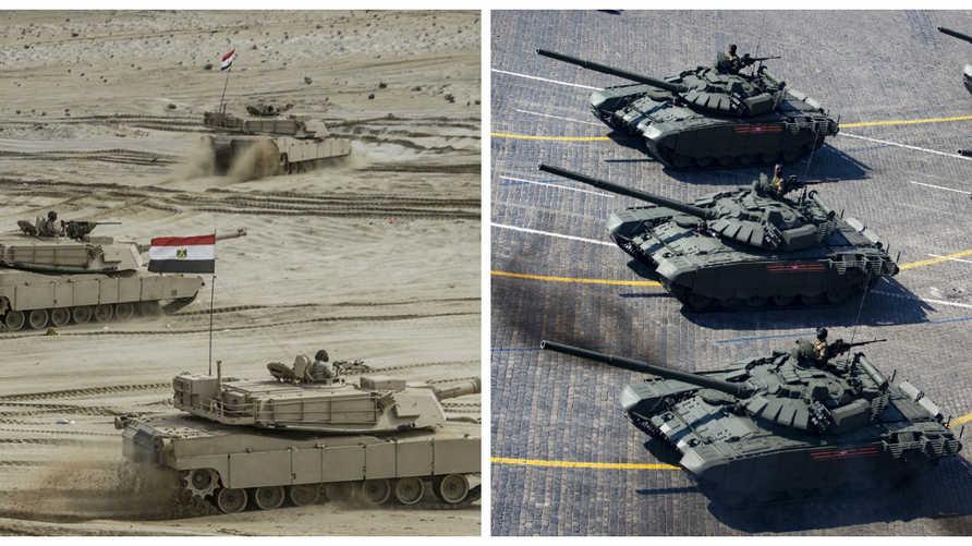 على اليمين دبابات من طراز t-72 الروسية التي تمتلكها إثيوبيا وعلى اليمين دبابات M1a1 الأمريكية لدى مصر