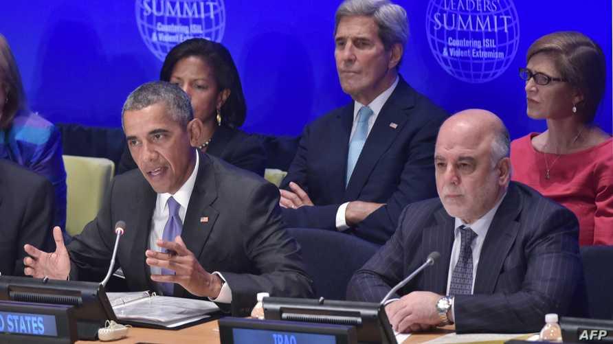 الرئيس الأميركي باراك أوباما يتحدث وعلى يساره رئيس الوزراء حيدر العبادي خلال المؤتمر الدولي لمكافحة الإرهاب الثلاثاء