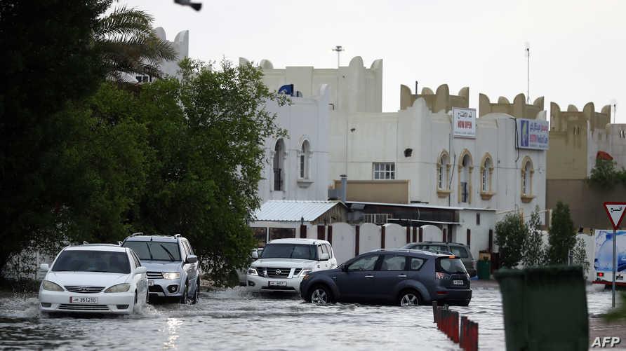 إحدى المناطق التي غمرتها مياه الأمطار في الدوحة