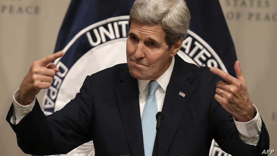 وزير الخارجية الأميركي جون كيري أثناء كلمته في معهد السلام بواشنطن