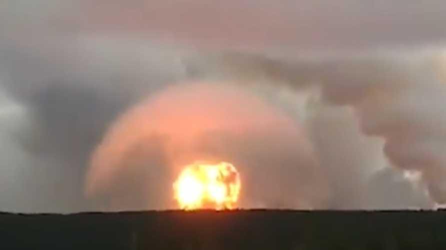 صور للحظة حصول الانفجار في القاعدة العسكرية الروسية