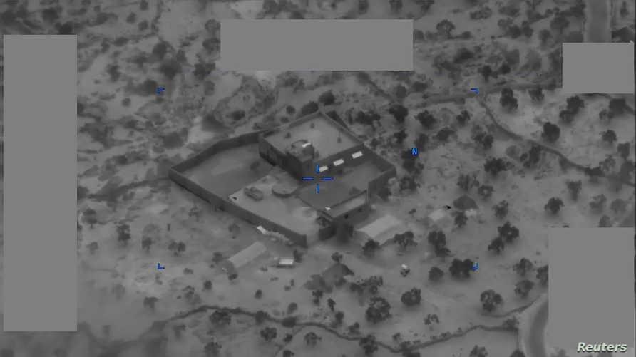 صورة وزعتها وزارة الدفاع الأميركية للمجمع الذي تحصن فيه البغدادي قبيل الحملة الأميركية التي أدت إلى مقتله