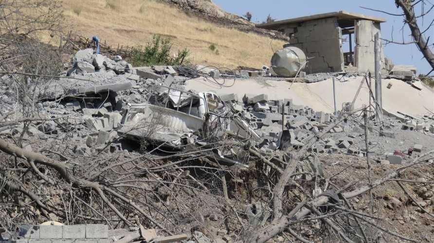 آثار قصف تركي على قرية في اقليم كردستان العراق