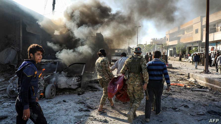 صورة من موقع انفجار السيارة في تل أبيض