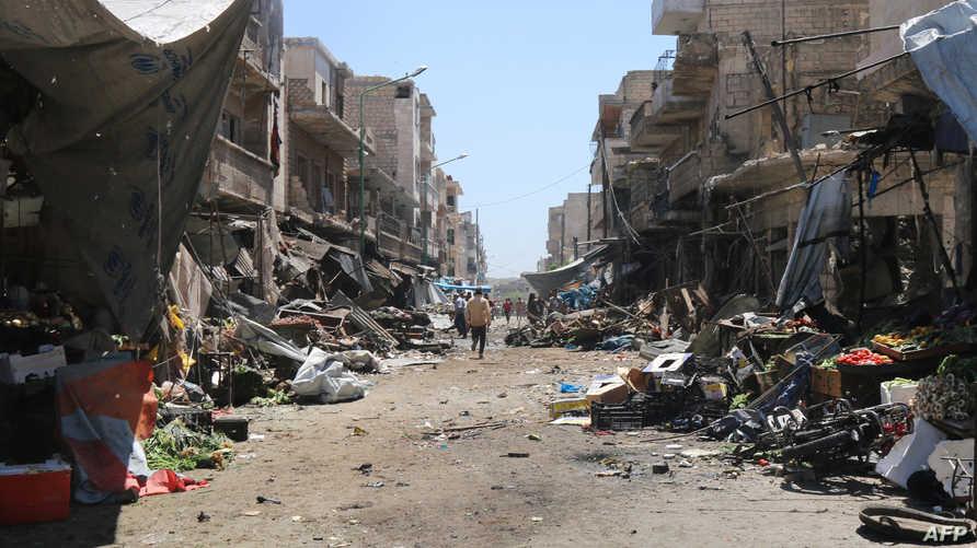 مخلفات قصف جوي على إدلب -أرشيف