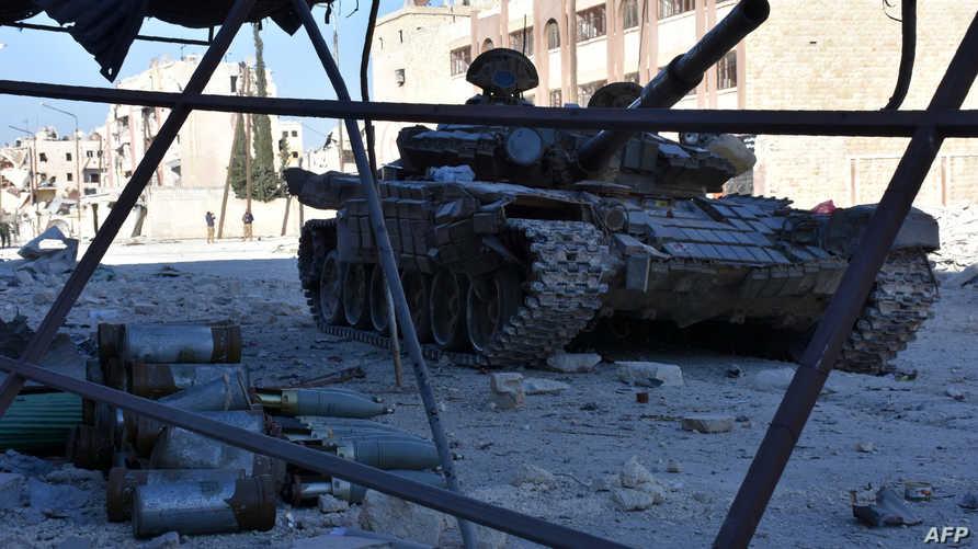 دبابة سورية في حي  مساكن هنانو بشرق حلب
