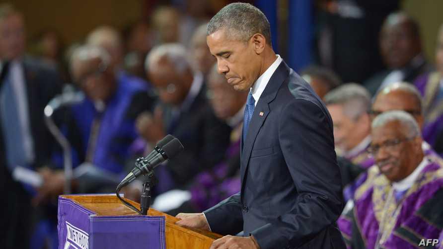 الرئيس باراك أوباما في حفل تأبين القس كليمنتا بينكني الذي قتل مع ثمانية آخرين في كنيسة للأميركيين من أصول إفريقية