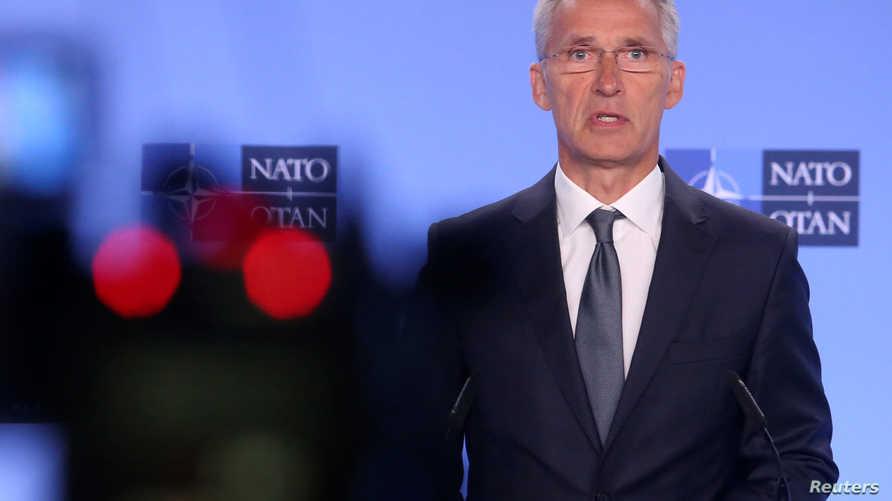الأمين العام لحلف شمال الأطلسي، ينس ستولتنبرغ في مؤتمر صحفي في 2 أغسطس 2019