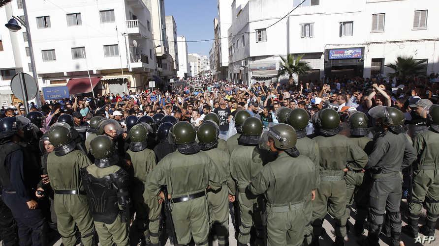 مشهد من احتجاجات الخميس في الحسيمة